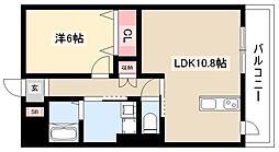 ディアコートK VII 4階1LDKの間取り