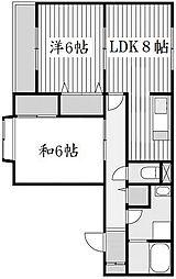 京都府京都市山科区小野御所ノ内町の賃貸アパートの間取り
