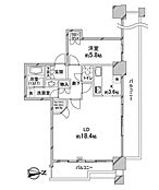 22階・角部屋で眺望良好な、1LDKの間取り図