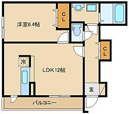 大阪府東大阪市瓜生堂2丁目の賃貸アパートの間取り