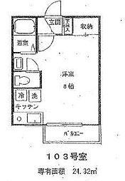東京都小金井市東町4丁目の賃貸アパートの間取り