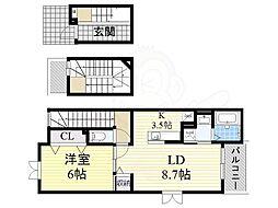北大阪急行電鉄 桃山台駅 徒歩19分の賃貸アパート 3階1LDKの間取り
