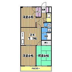 東京都あきる野市油平の賃貸マンションの間取り