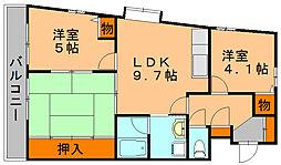 福岡県福岡市博多区板付2丁目の賃貸マンションの間取り