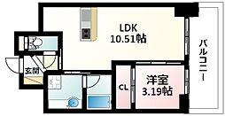 Osaka Metro御堂筋線 江坂駅 徒歩5分の賃貸マンション 15階1LDKの間取り