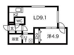 ALPHA南円山 2階1LDKの間取り