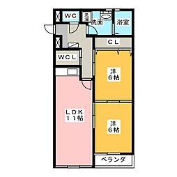 あさひレジデンス弐番館WEST[3階]の間取り