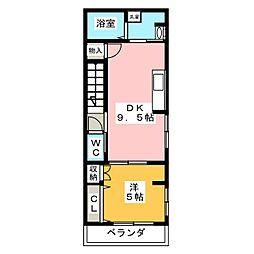 ハウス ビオトープ 2階1DKの間取り