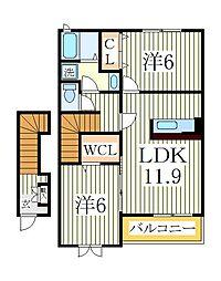 ベルソレイユII[2階]の間取り