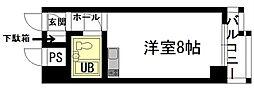 山口県 下関スカイマンション シー・ビュー 満珠[205号室]の間取り