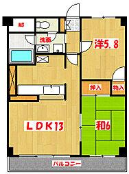 アズコム吉川[4階]の間取り