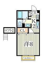 千葉県柏市西原4丁目の賃貸アパートの間取り