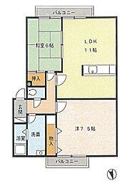 ガーデン青山 1-B[1階]の間取り