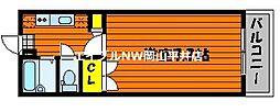 JR山陽本線 西川原駅 徒歩6分の賃貸マンション 2階1Kの間取り