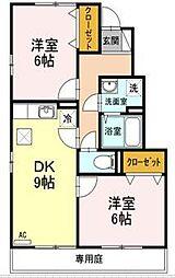 愛媛県東温市下林の賃貸アパートの間取り
