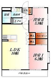 JR高崎線 熊谷駅 バス17分 大原1丁目バス停下車 徒歩4分の賃貸マンション 1階2LDKの間取り