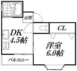 京阪本線 西三荘駅 徒歩7分の賃貸マンション 3階1DKの間取り