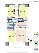 3LDK・専有面積64.96平米・バルコニー面積18平米