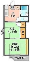 コーポ長崎[201号室]の間取り