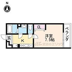 JR山陰本線 円町駅 徒歩8分の賃貸アパート 1階1Kの間取り