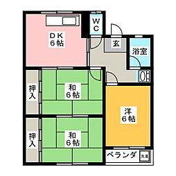 上松第2マンション[4階]の間取り