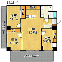 飛幡プライド[6階]の間取り