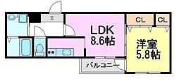 兵庫県尼崎市東桜木町の賃貸アパートの間取り