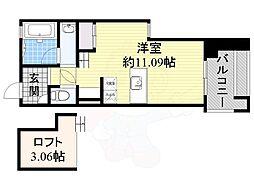 フォレステージュ江坂公園 14階ワンルームの間取り