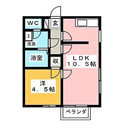 エクセルドーム[1階]の間取り