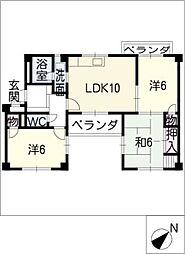 シャトー八幡[2階]の間取り