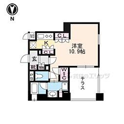 リーガル京都五条大宮101 1階1Kの間取り