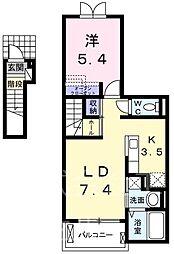 JR五日市線 東秋留駅 徒歩19分の賃貸アパート 2階1LDKの間取り