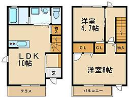[テラスハウス] 兵庫県伊丹市昆陽5丁目 の賃貸【/】の間取り