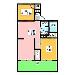 サンハイツ岩田[1階]の間取り
