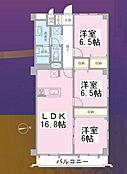 3LDKの間取り図。3階・角部屋で、陽当り通風良好です。
