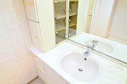 洗面台左側にはご家族様が多くても安心の収納スペースが多数。鏡は大判一面タイプで全体の身だしなみも確認しやすいです。