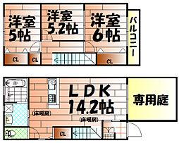 [テラスハウス] 福岡県北九州市小倉北区白萩町 の賃貸【/】の間取り