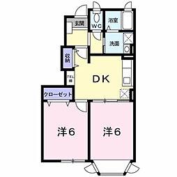 サンパティークA[1階]の間取り