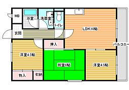 ディアコート藤井寺[2階]の間取り