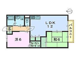 奈良県奈良市北之庄西町1丁目の賃貸アパートの間取り