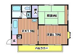 リリーヴィラ国立B棟[2階]の間取り
