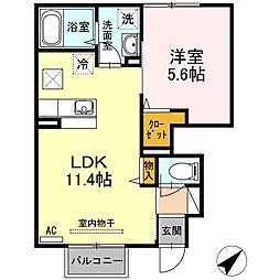 ルミナス 1階1LDKの間取り