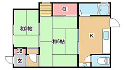 兵庫県神戸市長田区高取山町1丁目の賃貸アパートの間取り