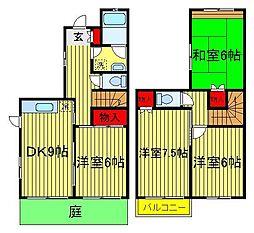 [テラスハウス] 千葉県我孫子市青山台2丁目 の賃貸【/】の間取り
