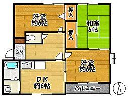 兵庫県神戸市北区鹿の子台北町1丁目の賃貸アパートの間取り