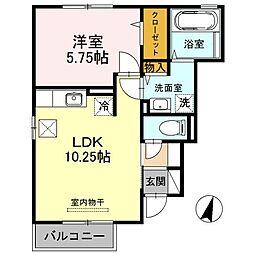 埼玉県鴻巣市松原4丁目の賃貸アパートの間取り