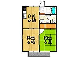 片岡ハイツA棟[203号室号室]の間取り