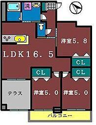 グローバルガーデンシティAB棟[A307号室]の間取り
