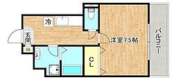 京阪本線 森小路駅 徒歩4分の賃貸マンション 1階1Kの間取り