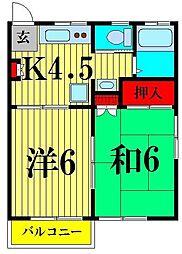 千葉県船橋市田喜野井5丁目の賃貸アパートの間取り